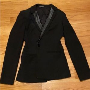 Black blazer with leather detail